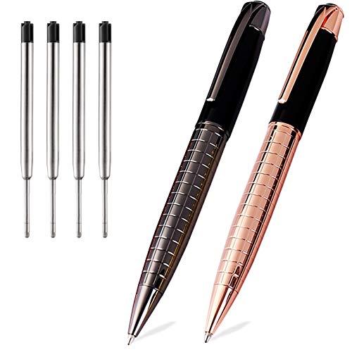 Ballpoint Pens Black Pens Medium Ball Point 1.0mm Smooth Writing Grip Metal Retractable Executive Business Office Nice Pen for Men Women (Rose Gold and Gun Black Pens, 2 Pack 4 Refills, No Gift Case)