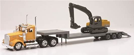 NEWRAY 1:43 SEMI Trailer Kenworth W900 LOWBOY with 1:58 Excavator #15293