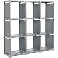 SONGMICS Estantería Modular Librería Abierta con 9 Cubos Armario de Almacenamiento para Estudio de Hogar Sala de Estar Gris LSN45GY