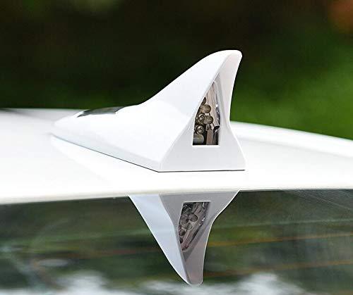 FANFAUTO Universal Car Solar Powered Shark Fin Antenna Led Flash Warning Light (White)