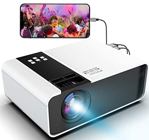 Mini Portable Movie Projector 1080P-Supported – Jimwey Full HD Outdoor Video Projector, with 50000 Hrs LED Lamp Life, Compatible with TV Stick, PS4, HDMI, USB, AV for Home Cinema [2021 Upgraded]