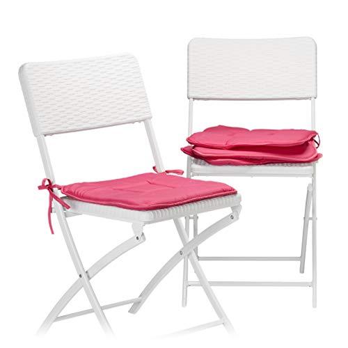 Relaxdays Stuhlkissen 4er Set in Fuchsia, Sitzkissen mit Schleife, Auflage für Stühle in Haus und Garten, waschbar, Stuhlauflage aus Polyester, pink