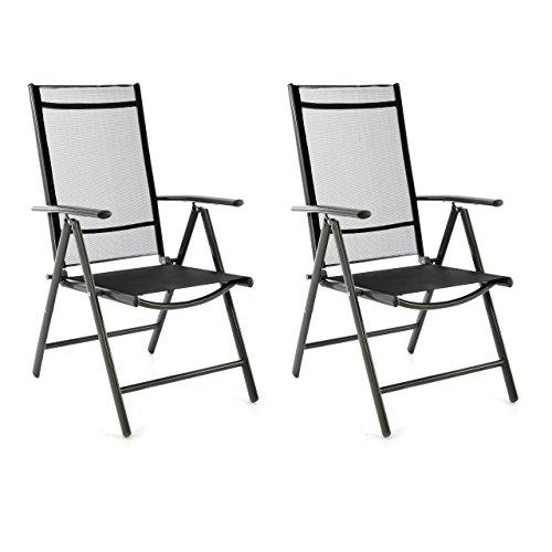 SONLEX 2er Set Klappstuhl Klappsessel Gartenstuhl Campingstuhl Liegestuhl – Sitzmöbel – klappbarer Stuhl aus Aluminium & Kunststoff - schwarz (Textilene) / anthrazit (Rahmen)