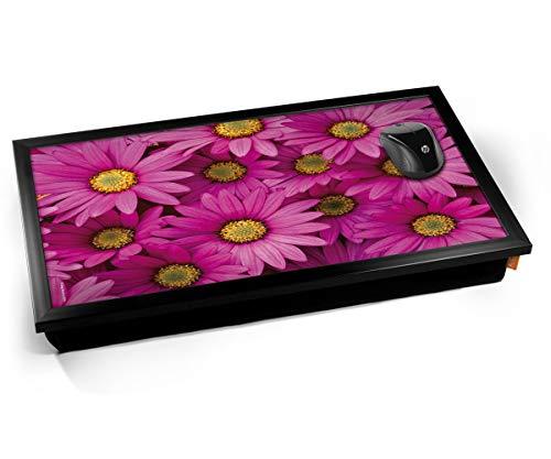 Pink Daisy Daisies Flowers Cushioned Bean Bag Laptop Lap Tray Desk - Built-in EMF Shield (Electro Magnetic Field) Kissen Tablett Knietablett Kissentablett - Schwarzer Rahmen