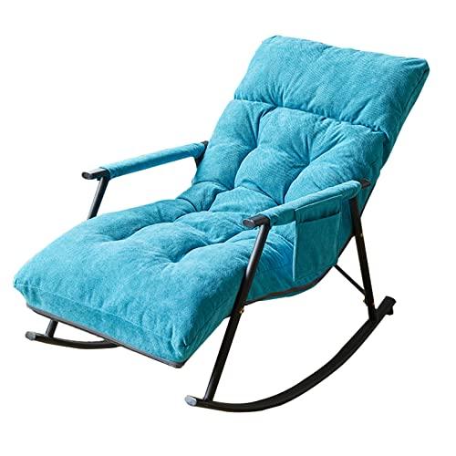 Mecedora Mecedora Individual, Silla Portátil Suave Y Cómoda para La Hora del Almuerzo En El Balcón, Sillón para El Dormitorio Y El Patio(Color:Azul)