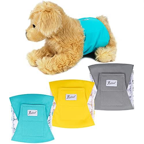Petotw Pañales Lavables para Perros Machos, Envolturas Reutilizables para Perros, Pañales Lavables para Envolver El Vientre para Perros de Hombres, Bandas para Perros Grande (L, 3 Piezas)