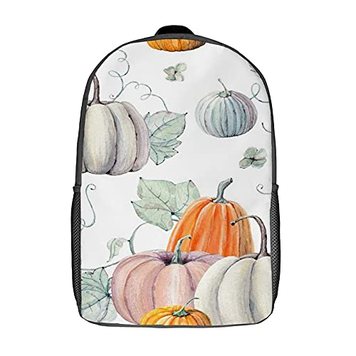 GKGYGZL Travel Laptop Backpack,Fall Watercolor Pumpkins It Is Perfect for Thanksgiving Halloween Design Recipe,Large Business Water Resistant Anti Theft Computer Daypack Slim Durable