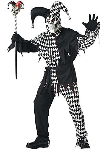 California Costumes 01627 - Disfraz De Bufn Malvado/Joker Blanco Negro Para Hombre Talla Plus 4XL - 5XL EU