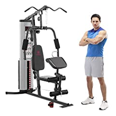 "TOTAL DIMENSIONS: 68""L x 42""W x 78""H MAXIMUM USER WEIGHT: 300 lbs STEEL CONSTRUCTION: This home gym system is made of heavy-duty 14 gauge steel tube frame and vinyl coated for extra durability with a total weight of 150 lbs. DOUBLE PULLEY STATIONS: T..."