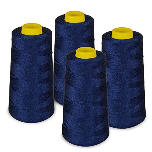 Lialina® Filo da Cucire Overlock 4 Bobine a Cono da 2700m 40S/2 100% Poliestere Colore Blu scuro Cod. 320