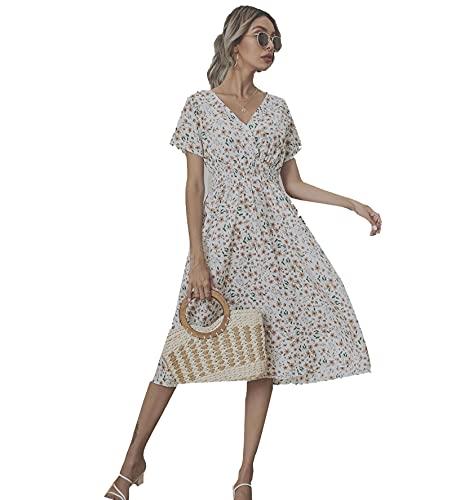 Floral Estampado Vintage Mujer Verano Vestido, Media Pierna Playa Gasa V-Cuello Corta Manga Casual Vestidos