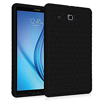 Fintie Silicone Case for Samsung Galaxy Tab E 9.6 - [Honey Comb Series] Light Weight [Anti Slip] Shock Proof Cover [Kids Friendly] for Tab E Wi-Fi/Tab E Nook/Tab E Verizon 9.6-Inch Tablet Black