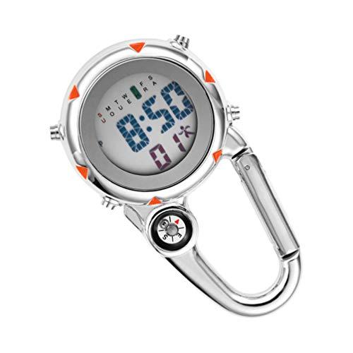VOSAREA Karabiner Uhr Digital Sportuhren Angeln Wandern Klettern Mini Taschenuhr mit Kompass Camping Outdoor Activities Ärzte Krankenschwestern Orange