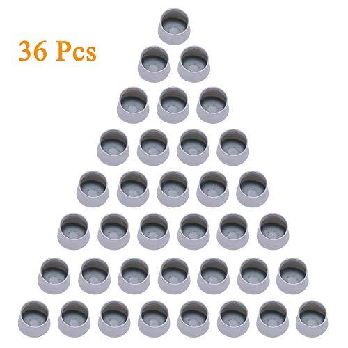 Tapas para patas de silla, 36 unidades, redondas, de silicona, redondas, transparentes, para muebles, antiarañazos., gris