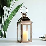JHY DESIGN Linternas Decorativas Velas de Acero Inoxidable de 31,5 cm de Altura con Vidrio Templado para Exteriores y Bodas Lámparas Colgantes de Estilo Vintage. (Oro Rosado)