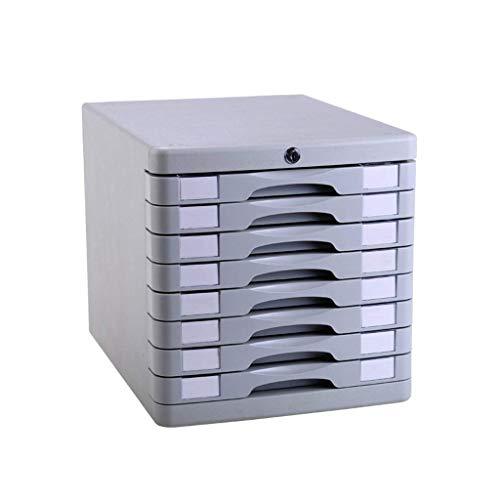 LHQ-HQ 8-Ebene-Desktop-Schublade Sorter 8-Layer, mit Verschluss-Plastikschublade Informationsbüro A4 Lagerung Weiß 11.3in * 14.6in * 11.4in Zeitungsständer
