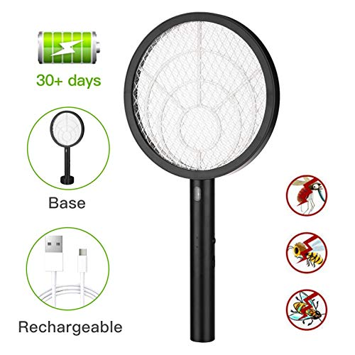 Electric Large Bug Zapper Racket, Mosquito killer, Fruit Fly Swatter Zap, Pest Control, USB Rechargeable, LED Lighting, Removable flashlight, Unique 3 Layer Safety Mesh Safe to Touch