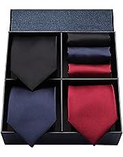 HISDERN 品牌 領帶 方巾 3條裝 高級 附禮品盒 20種圖案 商務 婚禮 父親節 禮物 TA3-01S