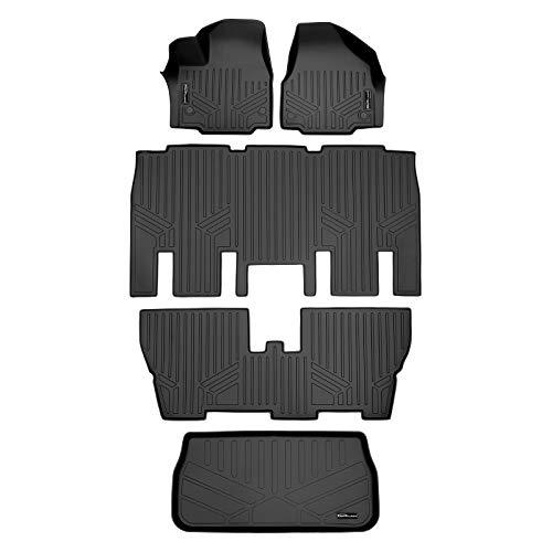 MAXLINER Floor Mats 3 Rows and Cargo Liner Behind 3rd Row Set Black for 2017-2021 Chrysler Pacifica 8 Passenger Model Only (No Hybrid Models)