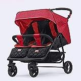 Cochecito de paraguas Twin FliPWorld, cochecito doble, cochecito de bebé plegable ligero y fácil con asientos a lado a lado doble, arnés de seguridad de 5 puntos