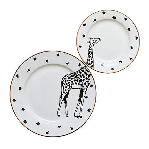 LILICEN Placa de cerámica Placa del Filete Occidental 6 Pulgadas 8 Pulgadas de Pantalla Plana Animal Variedad Grande Bandeja de café 2 Piezas Set 2 Piezas