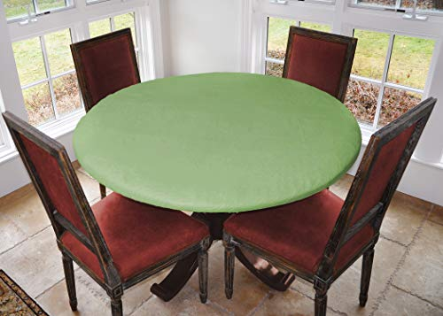 Covers For The Home Deluxe Elastic Edged Flannel Backed Vinyl Fitted Table Cover - Basketweave (Green) Pattern - Large Round - Fits Tables up to 45' - 56' Diameter