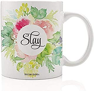 Inspiring SLAY Coffee Mug Pretty Fun Birthday Christmas Gift for Hard Working Woman Friend Sister Student Coworker Pink Floral Go After What You Want Girl! Present 11oz Ceramic Cup Digibuddha DM0244