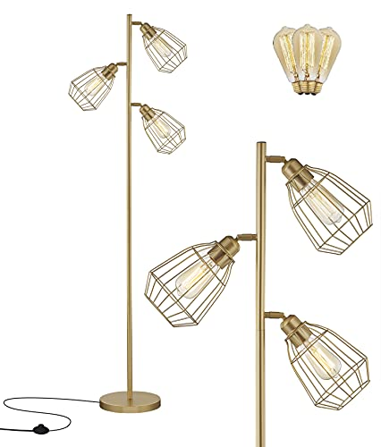 Modern Gold Tree Floor Lamp Industrial Floor Lamps for Living Rooms Bedrooms Office with Bright Reading Lighting Farmhouse Rustic Vintage Standing Tall Lamp Golden Stand Up Lamp 3 Bulbs Included