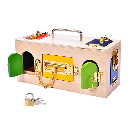 MICKYU Montessori Lock Box Toy Learning Education Toys Memory Board Game Practical Life Skill Toy Boys Girls