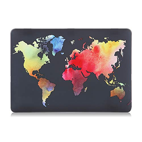 iDonzon MacBook Air 13 inch Case (Model: A1466 & A1369, 2010-2017 Release), 3D Effect Matte Black Hard Case Cover Only Compatible MacBook Air 13.3 inch - Colorful World Map
