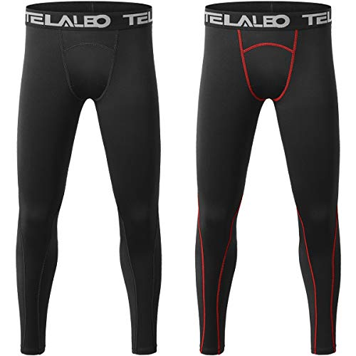 TELALEO Boys' Youth Compression Leggings Pants Tight Athletic Base Layer for Running Hockey Basketball Black 2 Packs M
