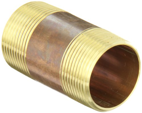 Anderson Metals - 38300-2030 38300 Lead Free Red Brass Pipe Fitting, Nipple, 1-1/4 x 1-1/4 NPT Male, 3 Length