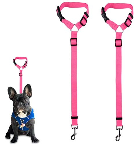 Dog Seat Belt, 2 Pack Safety Strap Car Headrest Restraint Adjustable Nylon Fabric Dog Restraints Vehicle Seatbelts Harness in Vehicle Travel Daily Use (Pink)