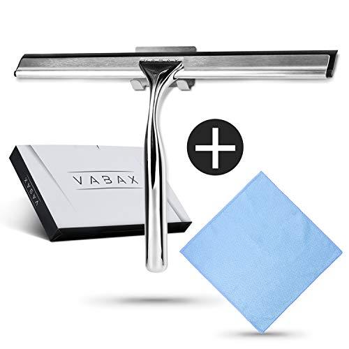 VABAX Duschabzieher aus Edelstahl mit Mikrofasertuch und Selbstklebender Aufhängung - Streifenfreier Duschwandabzieher - Glasabzieher & Abzieher für Fenster und Dusche