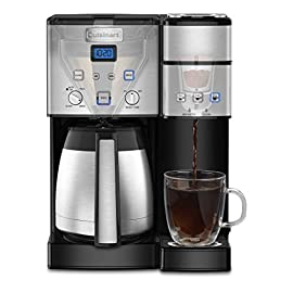 Cuisinart SS-20 Coffee Center 10-Cup Thermal Single-Serve Brewer Coffeemaker, Silver 8 The Cuisinart Coffee Center features a fully automatic thermal coffeemaker on one side and a single-serve brewer on the other. Single-Serve Features: 3 serving sizes: 6, 8, 10 oz., K-Cup pod compatible, Includes Cuisinart's HomeBarista Reusable Filter Cup which lets you use your own coffee,Removable 40oz reservoir and Energy Save modeRemovable drip tray for travel mugsCharcoal water filter Carafe Brewer Features: 10-cup thermal carafe with stainless steel handle, Fully automatic – 24-hour brew start, self-clean, ready alert, Brew Strength Control – select BOLD for stronger coffee flavor, Easy-view water windowBrew Pause feature andGold-tone coffee filter that lets only pure coffee flavor flow through