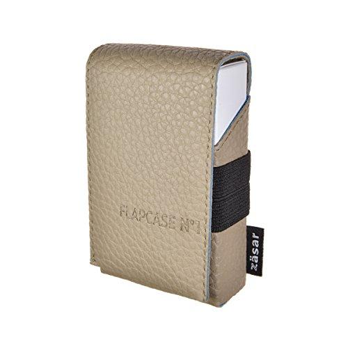 FLAPCASE N°1 • Gentle Beige • Designer Zigarettenetui, Made in Austria, Leder vegan Zigarettenbox für 19, 20, 21 Zigaretten Packungen, King-Size