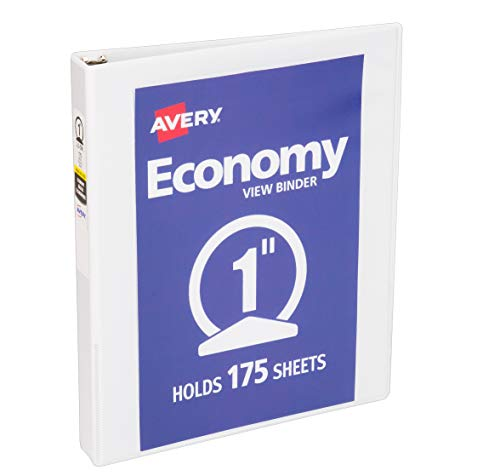 Avery 5760 Economy View Binder with 1 Inch Round Ring, White, 1 Binder