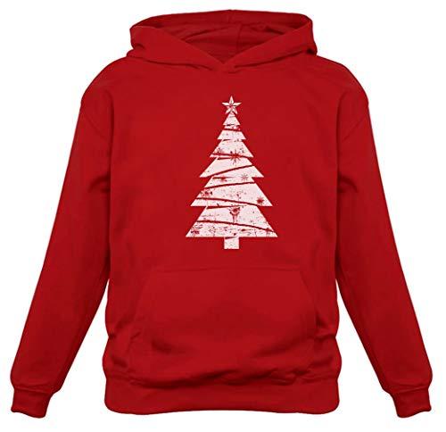 Big White Distressed Christmas Tree - Xmas Gift Idea Women Hoodie Medium Red