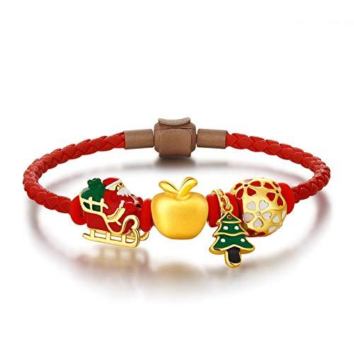 Pulsera de Mujer chapada en Oro con Manzana, Vigilia de Navidad 3D árbol de Navidad Trineo Papá Noel Regalo Perla Transferencia