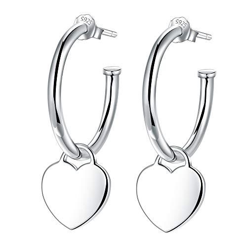 Lydreewam Pendientes aro Colgantes De Amor corazon Plata de Ley 925 para Mujer, diámetro 20mm