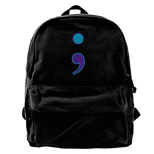 Unisex Semikolon Suicide Prevention Casual Style Leichte Canvas Rucksack Schultasche Travel Daypack Rucksack