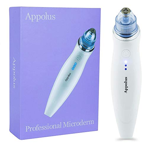 Microdermabrasion Machine - Appolus Premium Diamond Microdermabrasion Device USB Rechargeable - 3 Diamond Tips - 6 Heads Kit-Blackhead Remover Vacuum Tool-Lines Wrinkles Minimizer
