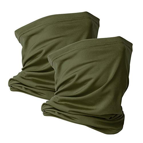 2 Pack Neck Gaiter Face Mask Scarf Reusable Bandanas Tube UV Protection Headwear Balaclava Outdoor Sport for Men and Women Green