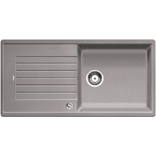 BLANCO ZIA XL 6 S – Rechteckige Granitspüle für 60 cm breite Unterschränke für die Küche – Mit extra großem Becken – aus SILGRANIT – Grau – 517559