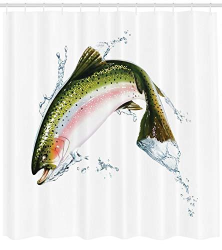 Fisch Duschvorhang Lachs Fotorealistischer Kunstdruck für Badezimmer