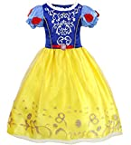 N/P Winter Princess Costumes Birthday Party Dress Up Toddler Girl's Role Play Costume Christmas for Age 3-6 Years (Yellow/Blue, 3-4 Years)