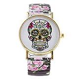 Hemobllo Women Quartz Watch Halloween Skull Pattern Watch Stainless Steel Floral Wrist Watch...