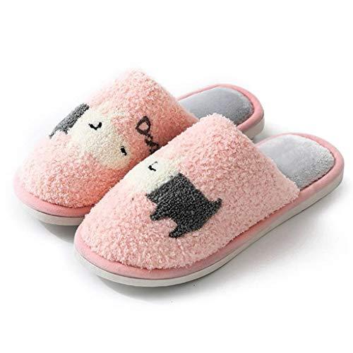 GFDFD Zapatillas de Mujer Invierno cálido casa Historieta hogar Antideslizante Zapatos de Felpa Hombres Amantes Dormitorio Damas niñas Lindo algodón Piel (Color : Pink 38-39)