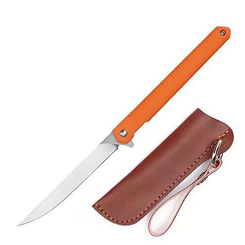 Eil Survival Einhandmesser mit Flipper & Kugellagern, Scharfes Outdoor Survival Klappmesser - Outdoormesser mit Gürtelclip (Orange - Spitzes Messer)