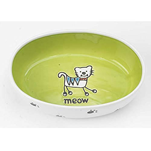 Pet Rageous 2-Cup Silly Kitty Oval Bowl
